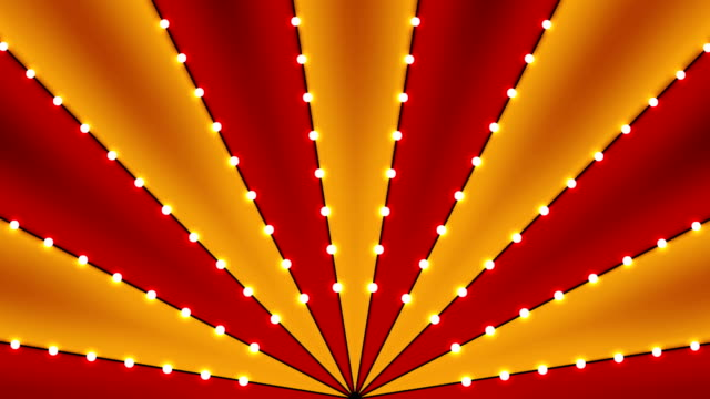 circus animated rotation looped background of red and gold lines stripe with star constellations light bulbs tinsel. retro motion graphic sun beam ray. vintage fun fair burst. carnival abstract circle - circus стоковые видео и кадры b-roll