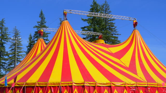 circus tent orange and red big top festival carnival show structure - circus стоковые видео и кадры b-roll