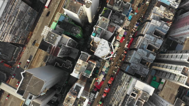 city aerial view of the downtown, Aerial top view Hong Kong City