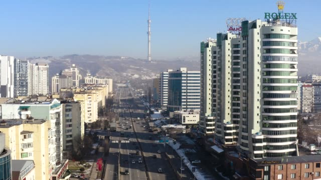 City Almaty Al-Farabi avenue Almaty, Kazakhstan - January 07 2019: Stunning view on the city and mountains kazakhstan stock videos & royalty-free footage