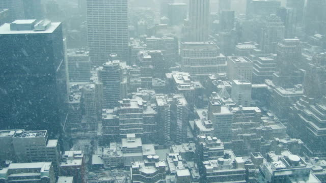 City Buildings From Above In Snowfall video