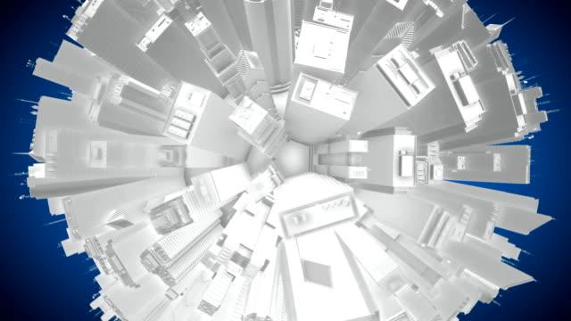 3D City Buildings Globe Spinning - Seamless Loop HD video