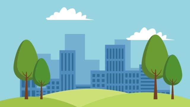 City buildings scenery HD animation