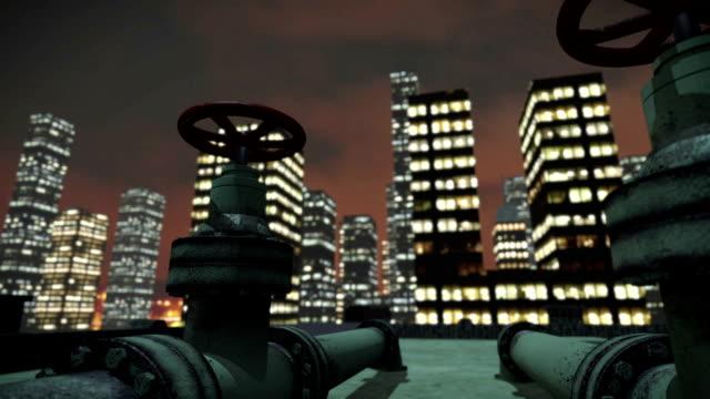 miasto w nocy z góry dachu - tap water filmów i materiałów b-roll