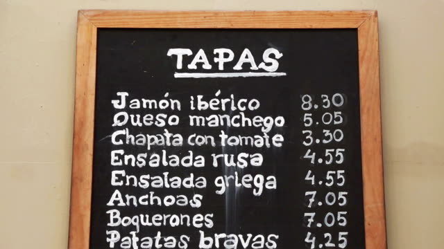 City center of Barcelona: tapas menu in the streets City center of Barcelona: restorant menu in the streets menu stock videos & royalty-free footage