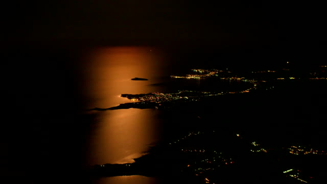 City Coastline in Moonlight Aerial View, Bulgaria video