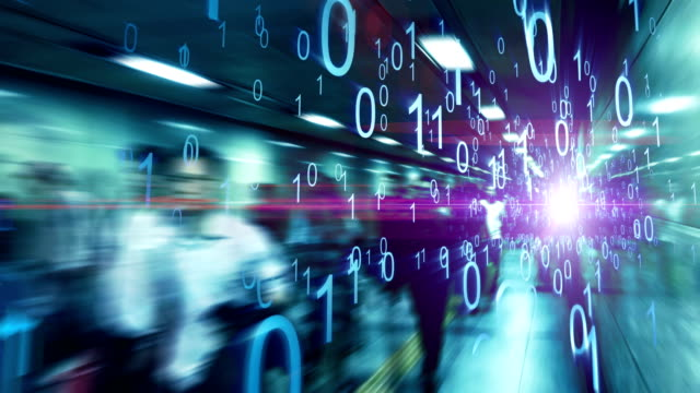 City commuters made of binary code