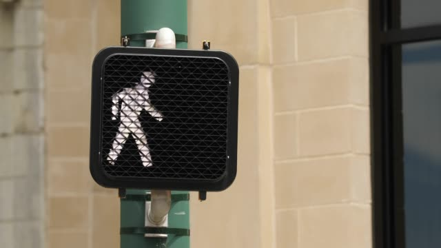 City downtown crosswalk sign