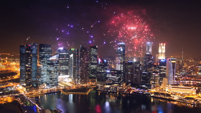 City fireworks  chinese new year stock videos & royalty-free footage