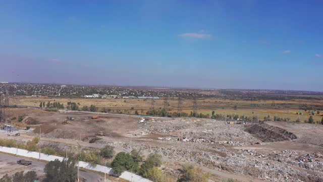 City garbage dump aerial view