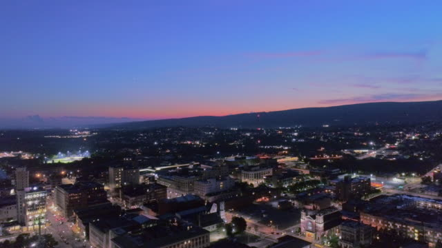 City Hall and Downtown District of Scranton in the night. Pennsylvania, USA. Aerial drone video with the static camera.