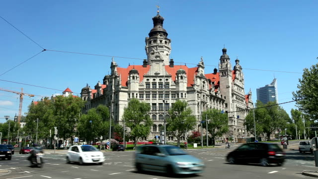 City hall Leipzig, Germany - Time Lapse video