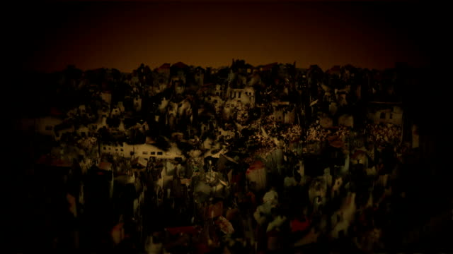 City in ruins after war. video