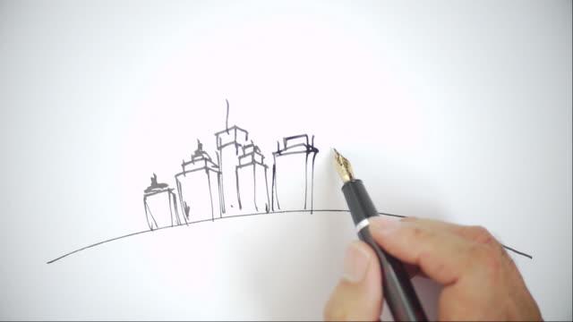 街の景観、手描きスケッチ - スケッチ点の映像素材/bロール