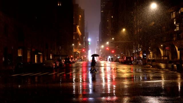 city light reflections in rain - street video stock e b–roll