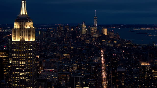 AERIAL CLOSE UP: City lights and dense traffic on streets of New York at night video
