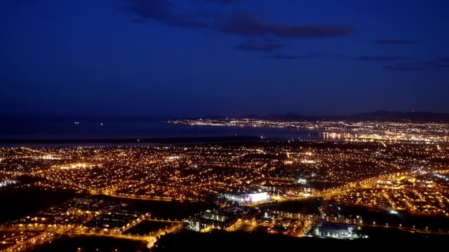 city lights at night from air video