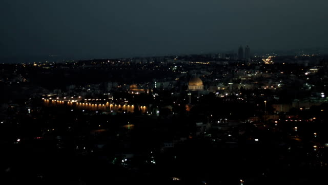 City lights over Jerusalem, Dome of the Rock and Al Aqsa mosque at evening time. video