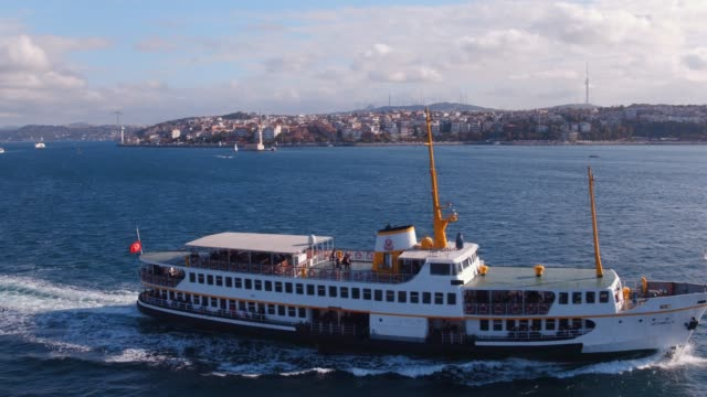 City lines passenger ferry 4k drone video