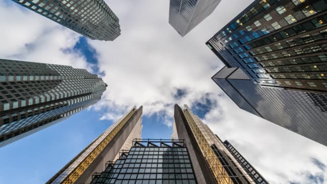 city look up with toronto office buildings - toronto architecture stock videos & royalty-free footage