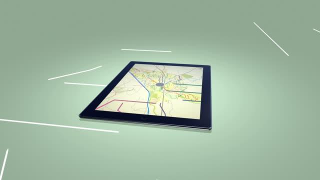 stockvideo's en b-roll-footage met city map on a digital tablet green background - roadmap