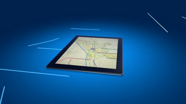 stockvideo's en b-roll-footage met city map on a digital tablet - roadmap