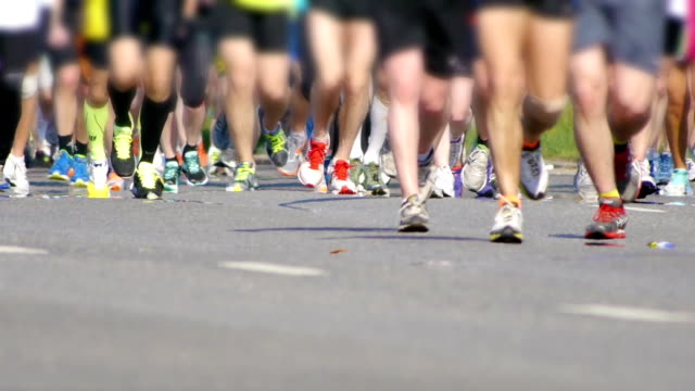 HD - City Marathon. Feet of people Close Up video