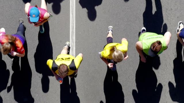 HD - City marathon. Top view. slow-mo video
