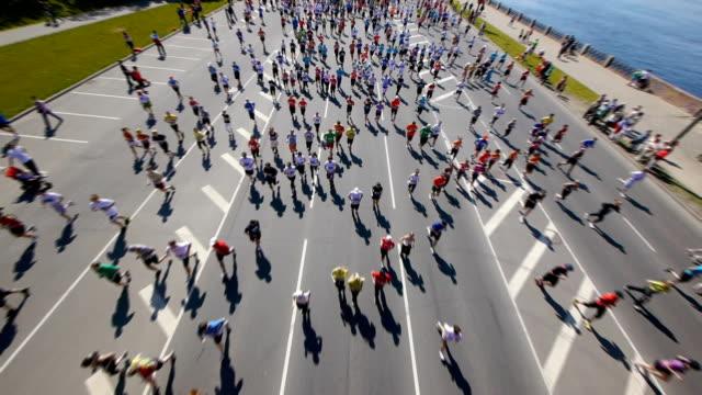 hd - city marathon. top view - race stock videos & royalty-free footage