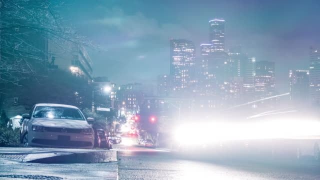 City Neighborhood Streets at Night Stop Motion Time-Lapse Downtown Seattle, Washington neighborhood at night with car light streaks flashing a strobe light at the camera high dynamic range imaging stock videos & royalty-free footage