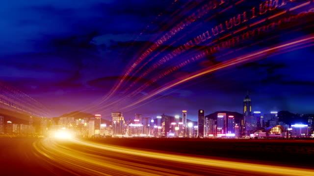 vídeos de stock, filmes e b-roll de rede de cidade de tecnologia - manipulação digital
