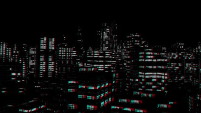 Ville de nuit vol 3D stéréoscopique Anaglyph, Rouge Bleu Cyan - Vidéo