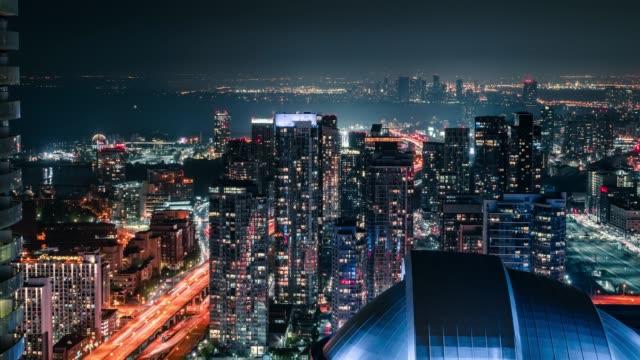 city night toronto city skyline cars driving - toronto architecture stock videos & royalty-free footage