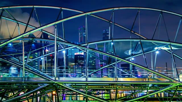 City night walk way on the bridge at Singapore, Time lapse. Colourful city night with bridge at Singapore City singapore architecture stock videos & royalty-free footage