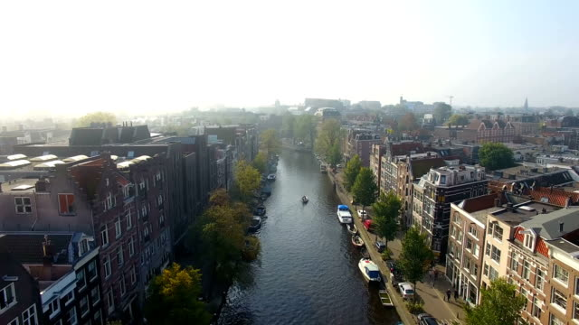 city of amsterdam aerial footage - amsterdam video stock e b–roll