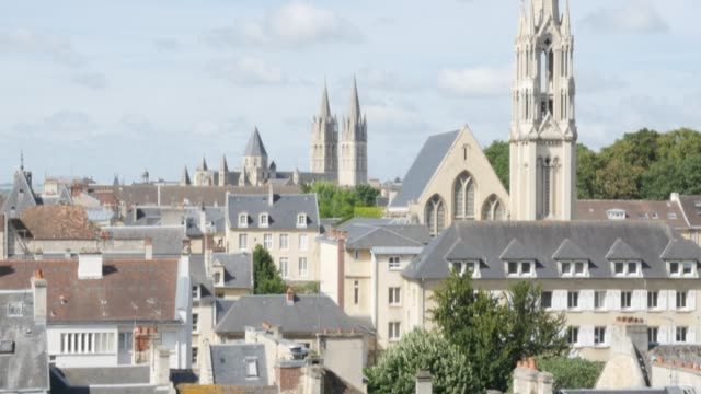 City of Caen located in northern French region Normandy 4K City of Caen located in northern French region Normandy 4K 3840X2160 UltraHD tilt footage - Tilting over cityscape of Calvados capital Caen in France 4K 2160p UHD video caen stock videos & royalty-free footage