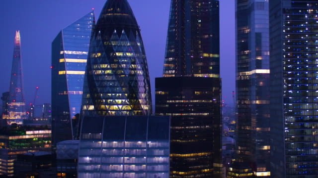 City of London financial district.Night.