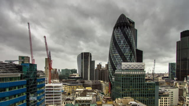 City of London on Overcast Day - Time Lapse