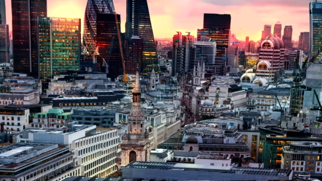 city of london panorama at sun set. - london architecture stock videos & royalty-free footage