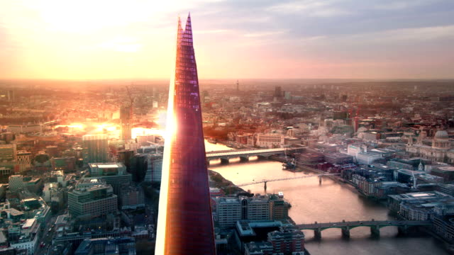 city of london, river thames and shard at sunset - london architecture stock videos & royalty-free footage