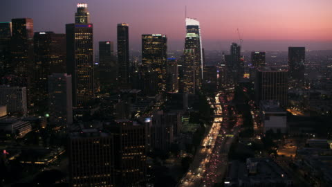 AERIAL City of Los Angeles at night Aerial shot of Los Angeles at night. Shot in USA. 10 seconds or greater stock videos & royalty-free footage