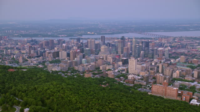 AERIAL City of Montreal, Quebec, from the Mount Royal at dusk video