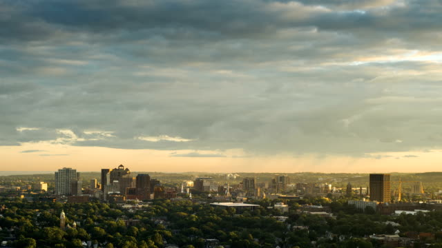 City of New Haven, CT Timelapse of city of New Haven with mostly cloudy sky during sunset. connecticut stock videos & royalty-free footage