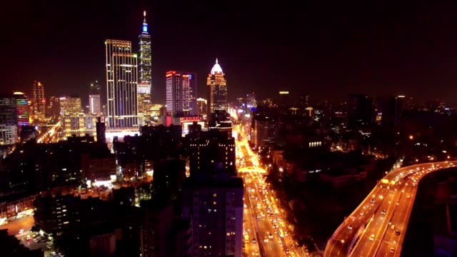 City of Taipei at night, Taiwan video