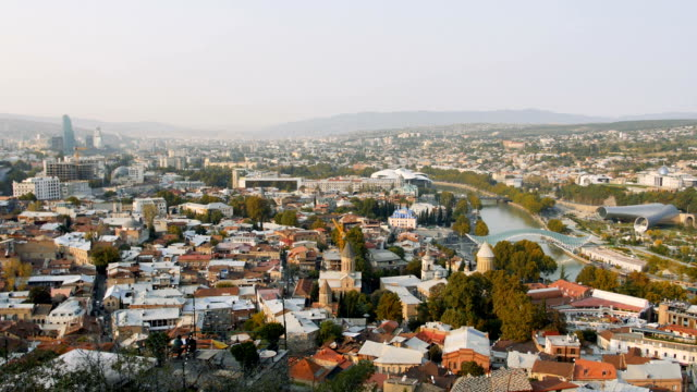 City of Tbilisi gets lively and busy in the morning, Georgia video
