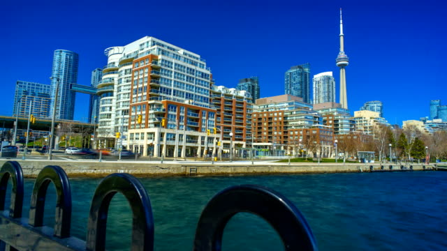 City of Toronto skyline time lapse waterfront 4K 1080P video