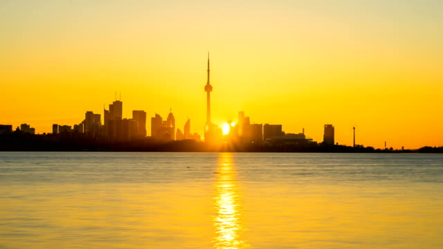 City of Toronto Sunrise Time Lapse Clear day 4K 1080P video