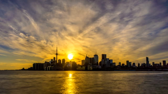 City of Toronto Sunset Time Lapse Day To Night 4K 1080p video