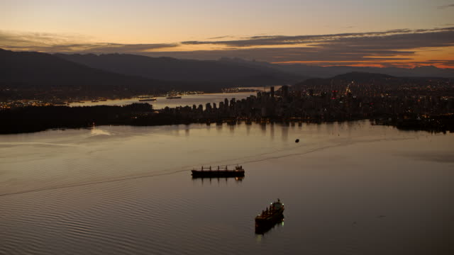 AERIAL City of Vancouver at dusk video