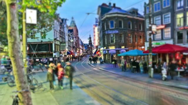 Fußgängerzone der Stadt Verkehr Zeitraffer Amsterdam – Video